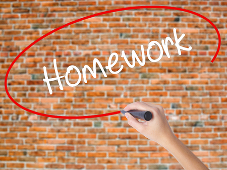 Woman Hand Writing Homework with black marker on visual screen. Isolated on bricks. Business, technology, internet concept.