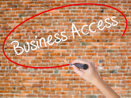 up code: Woman Hand Writing Business Access with black marker on visual screen. Isolated on bricks. Business concept. Stock Photo
