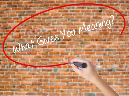 Woman Hand Writing What Gives You Meaning? with black marker on visual screen. Isolated on bricks. Business concept. Stock Photo
