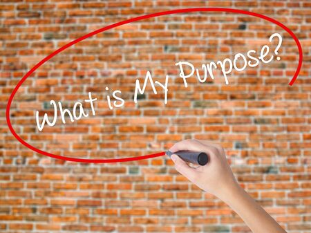Woman Hand Writing What is My Purpose? with black marker on visual screen. Isolated on bricks. Business concept. Stock Photo Stock Photo