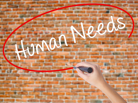 Woman Hand Writing Human Needs with black marker on visual screen. Isolated on bricks. Business concept. Stock Photo
