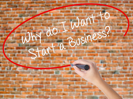 Woman Hand Writing Why do I Want to Start a Business? with black marker on visual screen. Isolated on bricks. Business concept. Stock Photo Stock Photo