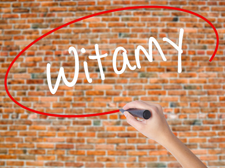 Woman Hand Writing Witamy (Welcome in Polish) with black marker on visual screen. Isolated on bricks. Business concept. Stock Photo Stock Photo
