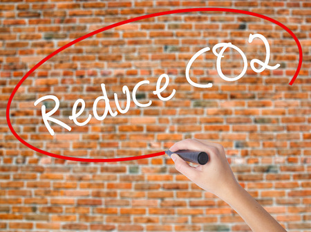 Woman Hand Writing Reduce CO2 with black marker on visual screen. Isolated on bricks. Business concept. Stock Photo