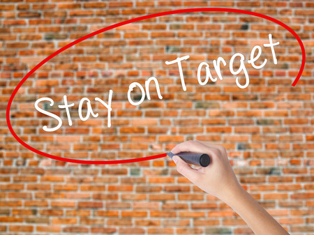 Woman Hand Writing Stay on Target with black marker on visual screen. Isolated on bricks. Business concept. Stock Photo