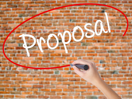 Woman Hand Writing  Proposal with black marker on visual screen. Isolated on bricks. Business concept. Stock Photo