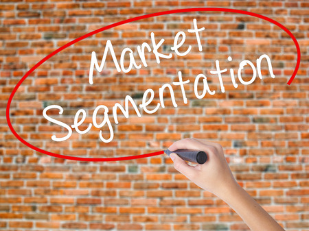 Woman Hand Writing Market Segmentation with black marker on visual screen. Isolated on bricks. Business concept. Stock Photo Stock Photo