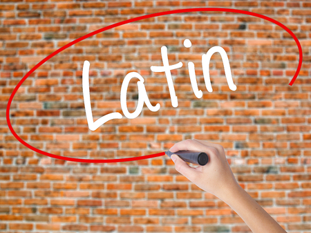 Woman Hand Writing Latin with black marker on visual screen. Isolated on bricks. Business concept. Stock Photo Stock Photo