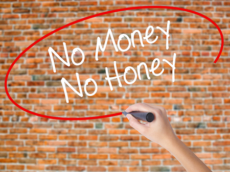 Woman Hand Writing No Money No Honey with black marker on visual screen. Isolated on bricks. Business concept. Stock Photo Stock Photo