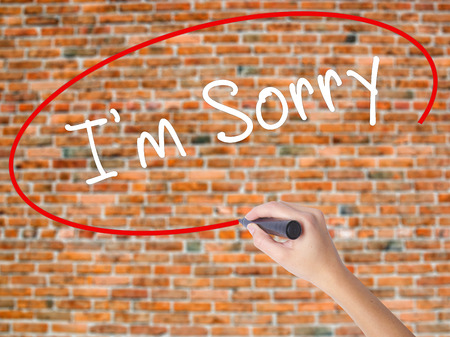 Woman Hand Writing Im Sorry with marker on transparent wipe board. Isolated on bricks. Business, internet, technology concept. Stock Photo Stock Photo