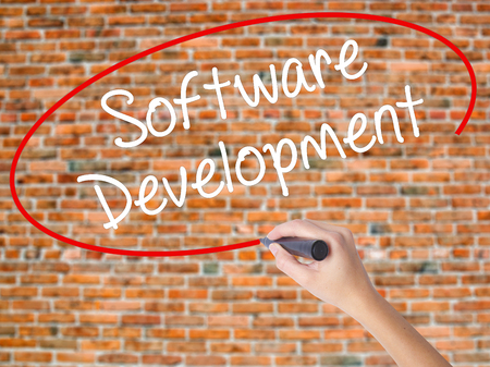 Woman Hand Writing Software Development with black marker on visual screen. Isolated on bricks. Business concept. Stock Photo