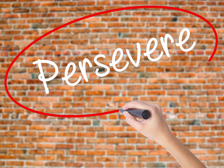 Woman Hand Writing Persevere with black marker on visual screen. Isolated on bricks. Business concept. Stock Photo