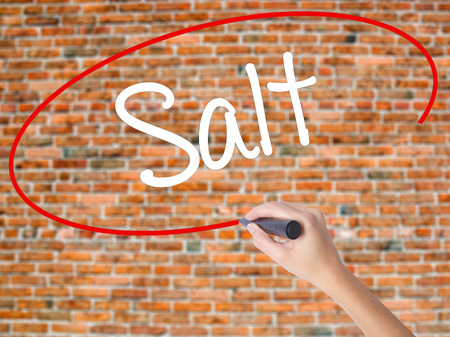 Woman Hand Writing Salt with black marker on visual screen. Isolated on bricks. Business concept. Stock Photo Stock Photo