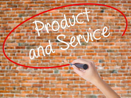availability: Woman Hand Writing Product and Service with black marker on visual screen. Isolated on bricks. Business concept. Stock Photo