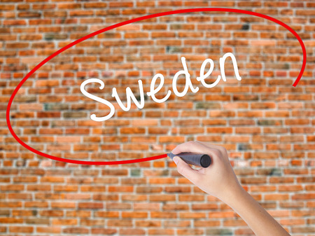 sweden winter: Woman Hand Writing Sweden  with black marker on visual screen. Isolated on bricks. Business, technology, internet concept.