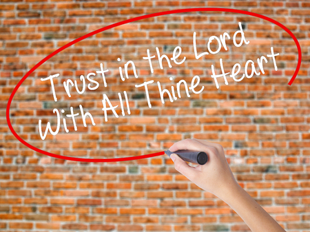 trust god: Woman Hand Writing Trust in the Lord With All Thine Heart with black marker on visual screen. Isolated on bricks. Business concept. Stock Photo