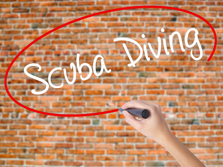 Woman Hand Writing Scuba Diving with black marker on visual screen. Isolated on bricks. Business concept. Stock Photo Stock Photo