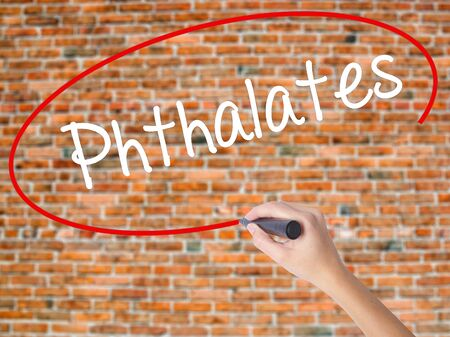 phthalates: Woman Hand Writing  Phthalates  with black marker on visual screen. Isolated on bricks. Business concept. Stock Photo