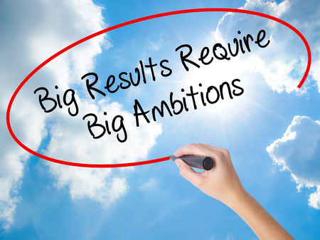 Woman Hand Writing Big Results Require Big Ambitions with black marker on visual screen. Isolated on Sunny Sky. Business concept. Stock Photo Stock Photo