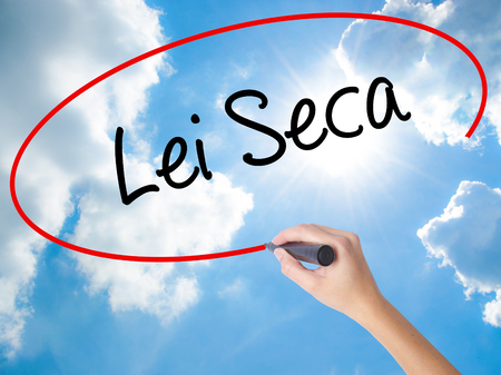 violation: Woman Hand Writing Lei Seca (Prohibition Alcohol Law n Portuguese) with black marker on visual screen. Isolated on Sunny Sky. Business concept. Stock Photo