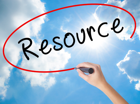 resourceful: Woman Hand Writing Resource with black marker on visual screen. Isolated on Sunny Sky. Business concept. Stock Photo