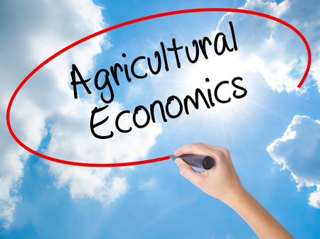 Woman Hand Writing Agricultural Economics with black marker on visual screen. Isolated on Sunny Sky. Business concept. Stock Photo