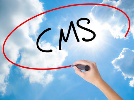 Woman Hand Writing CMS (Custom Management System) with black marker on visual screen. Isolated on Sunny Sky. Business concept. Stock Photo