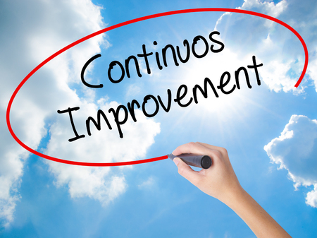 Woman Hand Writing Continuos Improvement with black marker on visual screen. Isolated on Sunny Sky. Business concept. Stock Photo