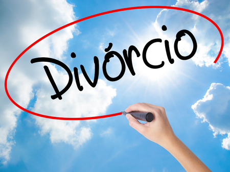 Woman Hand Writing Divorcio (Divorce in Portuguese) with black marker on visual screen. Isolated on Sunny Sky. Business concept. Stock Photo Stock Photo