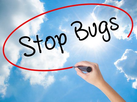 Woman Hand Writing Stop Bugs with black marker on visual screen. Isolated on Sunny Sky. Business concept. Stock Photo Stock Photo