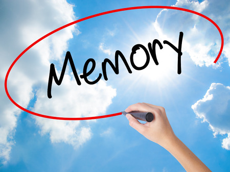 Woman Hand Writing Memory  with black marker on visual screen. Isolated on Sunny Sky. Business concept. Stock Photo