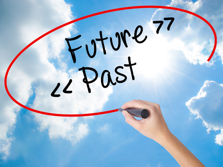 Woman Hand Writing Future - Past with black marker on visual screen. Isolated on Sunny Sky. Business concept. Stock Photo Stock Photo