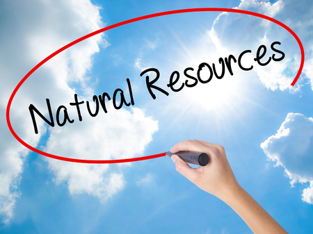 deforestacion: Woman Hand Writing Natural Resources with black marker on visual screen. Isolated on Sunny Sky. Business concept. Stock Photo