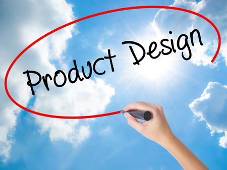 Woman Hand Writing Product Design with black marker on visual screen. Isolated on Sunny Sky. Business concept. Stock Photo
