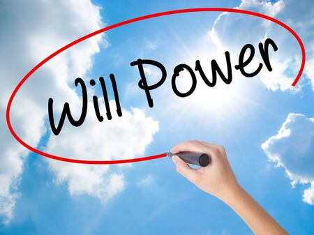 Woman Hand Writing Will Power with black marker on visual screen. Isolated on Sunny Sky. Business concept. Stock Photo