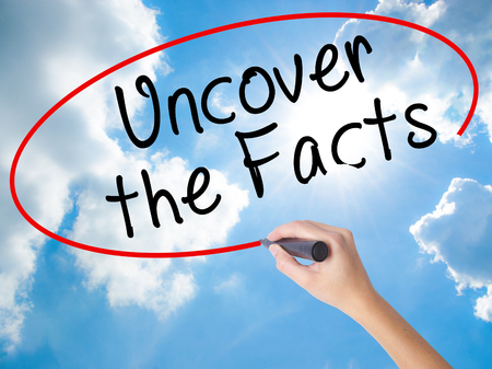 uncover: Woman Hand Writing Uncover the Facts with black marker on visual screen. Isolated on Sunny Sky. Business concept. Stock Photo