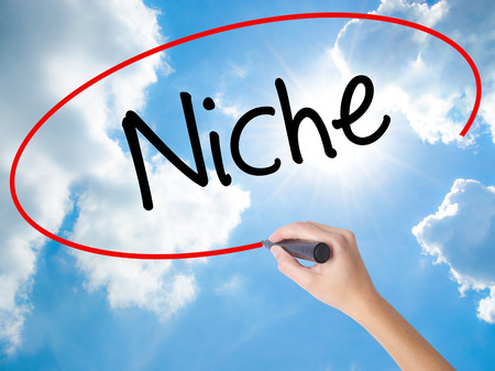 specific: Woman Hand Writing Niche with black marker on visual screen. Isolated on Sunny Sky. Business concept. Stock Photo Stock Photo