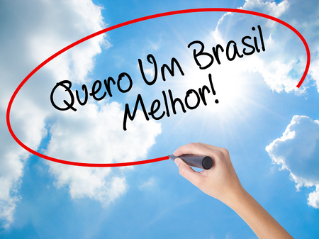 Woman Hand Writing Quero Um Brasil Melhor!  ( I want a Better Brazil in Portuguese)with black marker on visual screen. Isolated on Sunny Sky. Business concept. Stock Photo