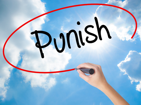 the requirement: Woman Hand Writing Punish with black marker on visual screen. Isolated on Sunny Sky. Business concept. Stock Photo Stock Photo