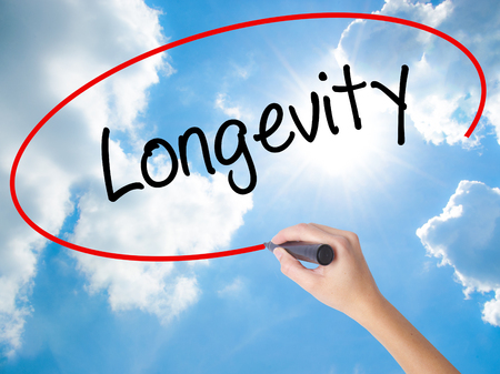 Woman Hand Writing Longevity  with black marker on visual screen. Isolated on Sunny Sky. Business concept. Stock Photo