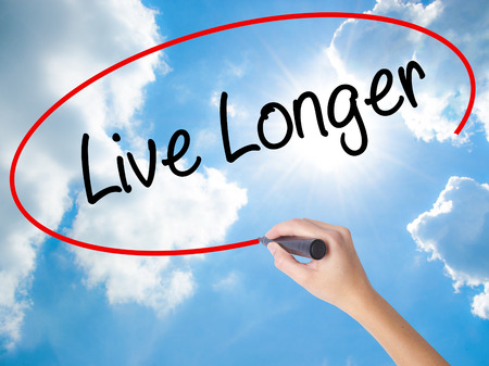 longevity medicine: Woman Hand Writing Live Longer with black marker on visual screen. Isolated on Sunny Sky. Business concept. Stock Photo