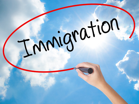 Woman Hand Writing Immigration with black marker on visual screen. Isolated on Sunny Sky. Business concept. Stock Photo