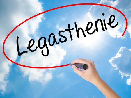 reversing: Woman Hand Writing Legasthenie (Dyslexia in German) with black marker on visual screen. Isolated on Sunny Sky. Business concept. Stock Photo