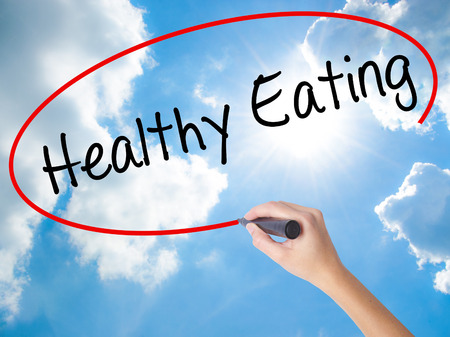Woman Hand Writing Healthy Eating with black marker on visual screen. Isolated on Sunny Sky. Life, technology, internet concept. Stock Image