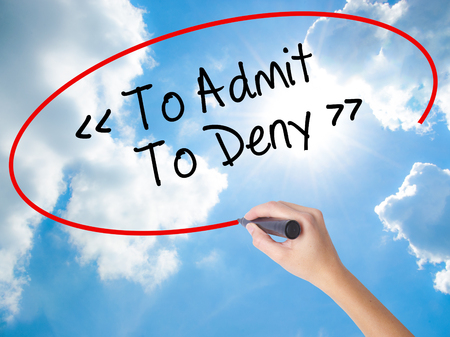 denying: Woman Hand Writing To Admit - To Deny with black marker on visual screen. Isolated on Sunny Sky. Business concept. Stock Photo
