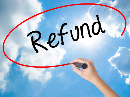 recibo: Woman Hand Writing Refund with black marker on visual screen. Isolated on Sunny Sky. Business concept. Stock Photo Foto de archivo