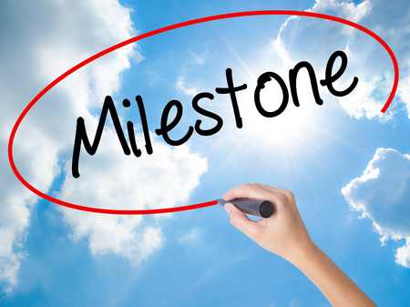Woman Hand Writing Milestone with black marker on visual screen. Isolated on Sunny Sky. Business concept. Stock Photo