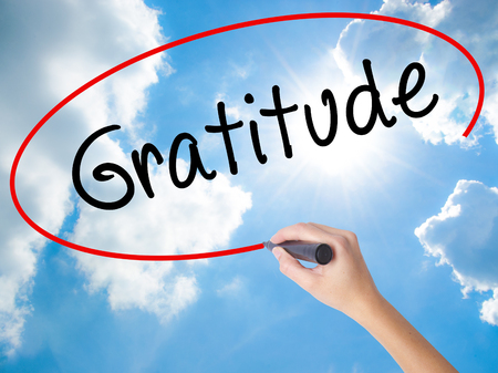 Woman Hand Writing Gratitude with black marker on visual screen. Isolated on Sunny Sky. Business concept. Stock Photo