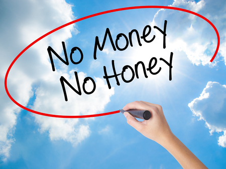 Woman Hand Writing No Money No Honey with black marker on visual screen. Isolated on Sunny Sky. Business concept. Stock Photo