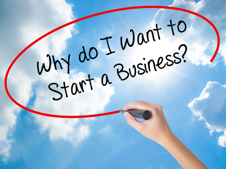 Woman Hand Writing Why do I Want to Start a Business? with black marker on visual screen. Isolated on Sunny Sky. Business concept. Stock Photo